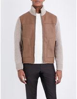 Corneliani Leather-panel Wool And Shearling Bomber Jacket