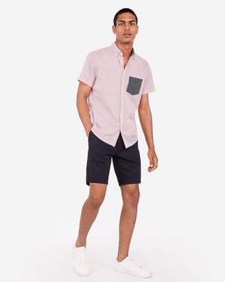 Express Slim Stripe Star Pocket Short Sleeve Shirt