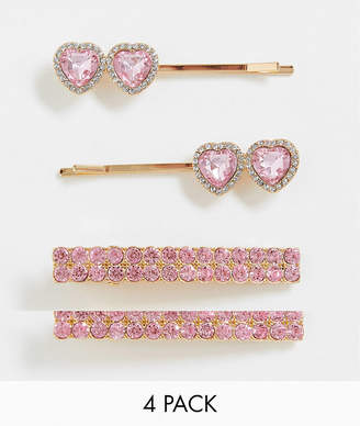 Asos Design DESIGN pack of 4 hair clips with rose pink heart jewels in gold tone