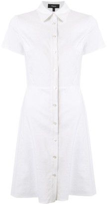 Theory Button-Up Fitted Shirt Dress