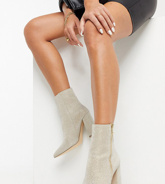 London Rebel wide fit pointed heeled ankle boots in glitter