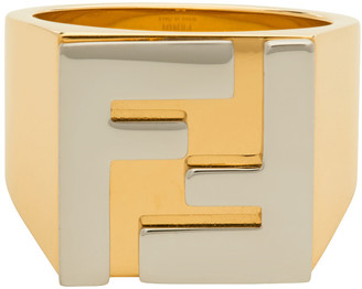 Fendi Gold and Silver Forever Logo Signet Ring
