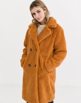Qed London QED London double breasted teddy longline coat