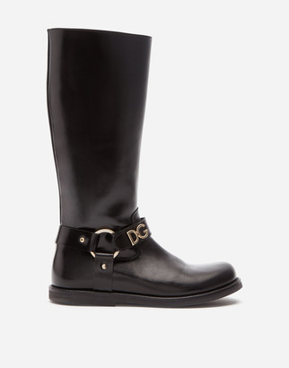Dolce & Gabbana Calfskin Riding Boots With Lettering
