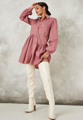Missguided Tall Pink Asymmetric Tiered Shirt Smock Dress