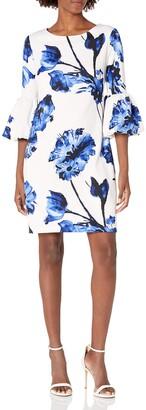Chetta B Women's 3/4 Flounce Sleeve Floral Printed Scuba Sheath Dress