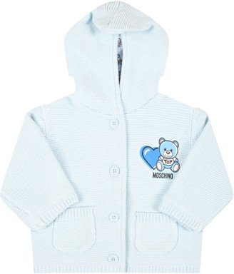 Moschino Light Blue Cardigan For Babyboy With Teddy Bear