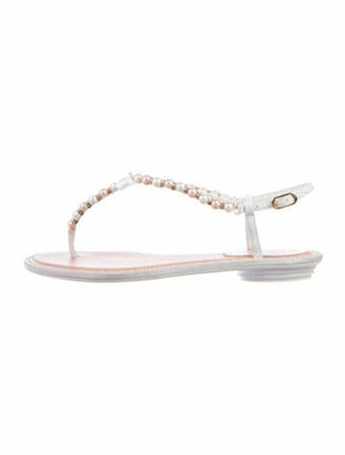 Rene Caovilla Faux Pearl Accents Leather T-Strap Sandals White