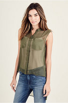 True Religion Womens High Low Button Up Shirt
