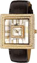 Adee Kaye Women's Facet 41mm Calfskin Band Brass Case Quartz Watch Ak25-Lg