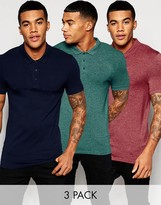 Asos Extreme Muscle Jersey Polo 3 Pack Navy/ Burgundy/ Teal
