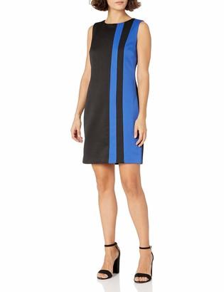 Ellen Tracy Women's Petite Ponte Color Block Dress