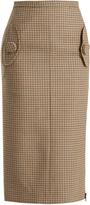 No.21 NO. 21 Checked wool pencil skirt