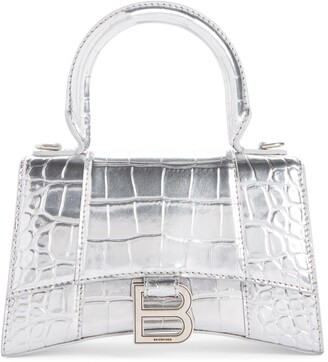 Balenciaga Extra Small Hourglass Croc Embossed Leather Top Handle Bag