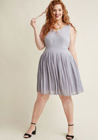 ModCloth Drop Waist Pleated A-Line Dress in Stone in S - Sleeveless Midi