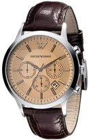 Giorgio Armani Emporio Classic Collection Men's Quartz Watch with Brown Dial Analogue Display and Brown Leather Strap AR2433