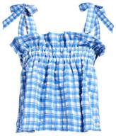 Ganni Murillo Gingham Seersucker Top - Womens - Blue Print