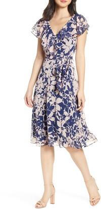 Eliza J Floral Print V-Neck Clip Dot Dress