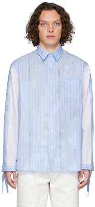 J.W.Anderson Blue Drawstring Logo Stripe Shirt