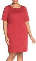 Ellen Tracy Plus Size Women's Seam Detail Elbow Sleeve Ponte Sheath Dress