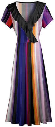 Lily Women's Maxi Dresses PRP - Purple Stripe Ruffle-Trim Surplice Maxi Dress - Women & Plus