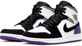 Jordan Nike Air 1 Mid trainers in white/purple/grey