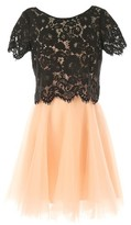 Rene Derhy Overlay Dress with Tulle Skirt and Lace Top