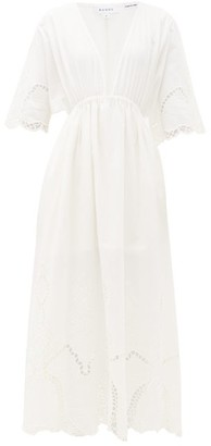 Rhode Resort Liam Plunge-neck Broderie-anglaise Cotton Dress - Womens - White