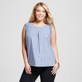 Merona Women's Plus Size Gingham Sleeveless Top Navy