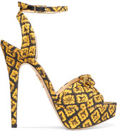 Charlotte Olympia Show Shoes Printed Canvas Platform Sandals - Mustard