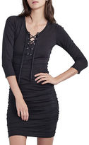 Velvet By Graham And Spencer Three-Fourth Sleeve Lace Up Dress