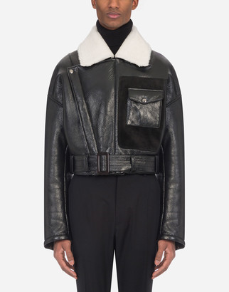 Dolce & Gabbana Leather Jacket With Shearling Collar