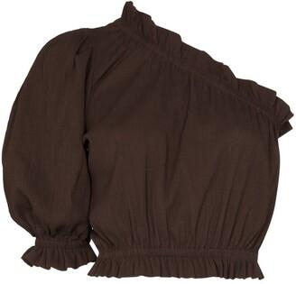 Peony Swimwear Cropped One-Shoulder Top
