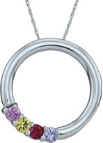 FINE JEWELRY Personalized Simulated Birthstone Circle Pendant Necklace
