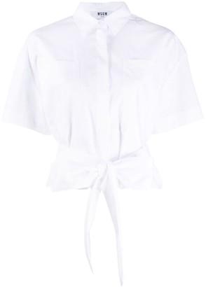 MSGM Tie-Waist Short-Sleeve Shirt