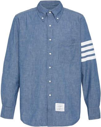 Thom Browne Striped Cotton-Chambray Shirt