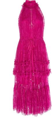 Alexis Magdalina Tiered Halterneck Lace Midi Dress