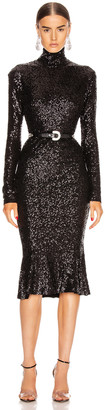 Norma Kamali Sequin Long Sleeve Turtleneck Fishtail Dress in Black | FWRD