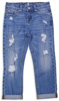 7 For All Mankind Girls' Skinny Crop & Roll Distressed Jeans - Little Kid