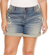 Boutique + + Denim Shorts-Plus