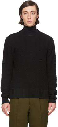 Ami Alexandre Mattiussi Black Merino Herringbone Sweater