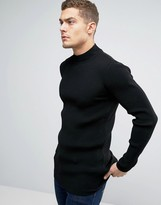 Asos Longline Muscle Fit Ribbed Turtle Neck Jumper