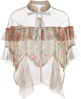 Anna Sui Satin Stripe And Tulle Capelet