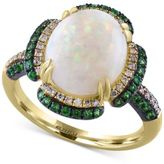 Effy Opal (2-1/2 ct. t.w.), Tsavorite (1/2 ct. t.w.) and Diamond (1/6 ct. t.w.) Ring in 14k Gold