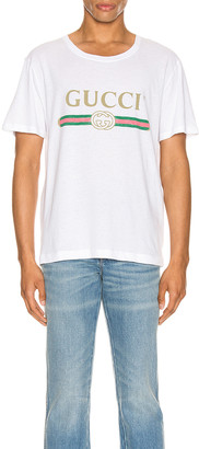 Gucci Logo Oversize Washed Tee in White & Green & Red & Gold | FWRD