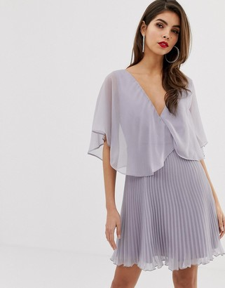ASOS DESIGN mini dress with pleat skirt and flutter sleeve