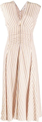 Sandro Paris Stripe Print Ruched Dress