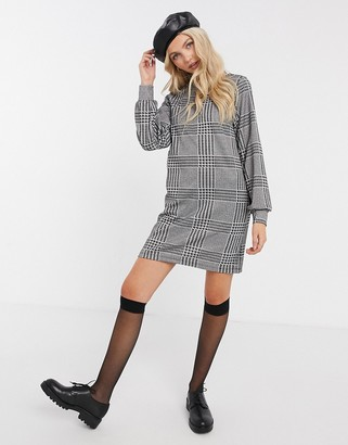 JDY long sleeve shift dress in check print