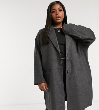 Only Curve oversized coat in grey
