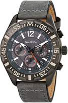 Nautica Men's N18720G NST 402 Gray Leather Chronograph Watch